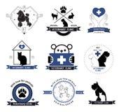 Elemento veterinario del diseño de las etiquetas del logotipo de la clínica Tratamiento de las enfermedades de animales Foto de archivo