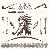 Elementos étnicos indianos do nativo americano ilustração stock