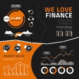 Elementos, ícones e símbolos infographic da finança Fotos de Stock