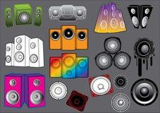 Elementos #1 de los sonidos: Altavoces Ilustración del Vector