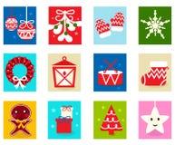Elementos 1 del calendario del advenimiento de la Navidad Imagen de archivo libre de regalías