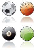 Elementos 50a del diseño. Conjunto del icono de las bolas del deporte Imagen de archivo