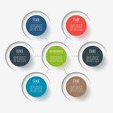 Elementos abstractos del botón, 6 ramas, opciones o piezas Concepto creativo para infographic Visualización de los datos de negoc ilustración del vector