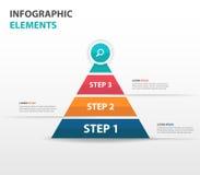 Elementos abstratos de Infographics do negócio da seta da pirâmide, ilustração lisa do vetor do projeto do molde da apresentação  Imagens de Stock Royalty Free