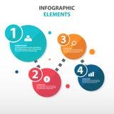 Elementos abstratos de Infographics do negócio do fluxograma do círculo, ilustração lisa do vetor do projeto do molde da apresent Imagens de Stock