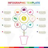 Elementos abstratos do infographics da ?rvore Molde infographic colorido com 9 títulos ilustração royalty free