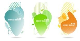 Elementos abstratos do projeto para gráficos e locais da Web, listras, inclinações e gotas abstratas Grupo de elementos gráficos  foto de stock