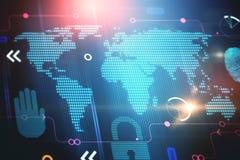 Elementos abstratos e mapa do mundo da tecnologia digital Imagens de Stock