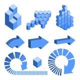 Elementos abstratos isométricos do projeto da geometria Fotografia de Stock Royalty Free