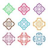 Elementos adornados coloridos del diseño del vector Imágenes de archivo libres de regalías