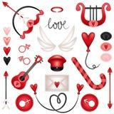 Elementos ajustados do cupido do amor ilustração stock