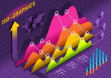 Elementos ajustados do histograma isométrico de Infographic   Foto de Stock Royalty Free