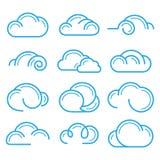 Elementos ajustados do projeto do vetor do ícone do sinal do símbolo do logotipo da nuvem Imagens de Stock Royalty Free