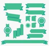 Elementos ajustados do vetor fitas verdes isolados Imagens de Stock Royalty Free