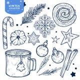 Elementos ajustados dos anos novos e dos invernos isolados no fundo branco ilustração stock