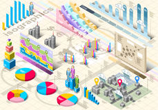 Elementos ajustados isométricos de Infographic Imagem de Stock