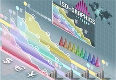 Elementos ajustados isométricos de Infographic com transparência Imagens de Stock