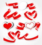 Elementos al día de tarjeta del día de San Valentín Fotos de archivo