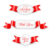 Elementos al día de tarjetas del día de San Valentín Fotografía de archivo