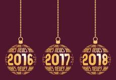 Elementos alemanes del Año Nuevo por los años 2016-2018 Imagen de archivo libre de regalías