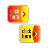 Elementos amarelos, alaranjados e vermelhos brilhantes da Web Foto de Stock Royalty Free