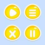 Elementos amarelos de UI para o app ou o jogo Foto de Stock