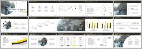 Elementos amarillos de las plantillas de la presentación en un fondo blanco Infographics del vector