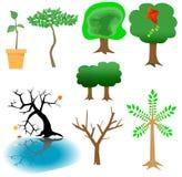Elementos arbóreos - iconos del árbol stock de ilustración