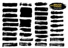 Elementos artísticos sujos do projeto isolados no fundo branco Cursos de tinta preta da escova do vetor ilustração do vetor