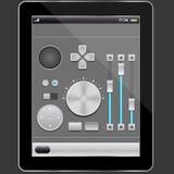 Elementos audios diseño y PC de la tablilla imágenes de archivo libres de regalías
