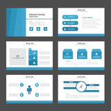 Elementos azuis de Infographic do molde da apresentação do polígono 3 e projeto liso do ícone Fotos de Stock