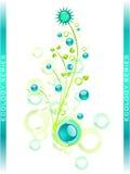 Elementos azules del diseño floral stock de ilustración