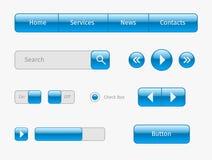 elementos azules del ui del web en gris Fotografía de archivo libre de regalías