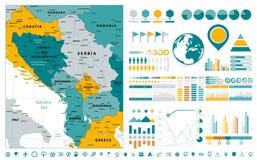 Elementos balcánicos centrales del diseño de Infographics del mapa de la región En blanco Foto de archivo libre de regalías