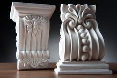 Elementos blancos de la decoración interior, diseño de la pared Foto de archivo libre de regalías