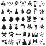 42 elementos blancos y negros de la Navidad Stock de ilustración