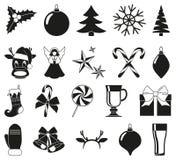 20 elementos blancos y negros de la Navidad Stock de ilustración