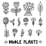 Elementos blancos y negros de las plantas y de las flores del garabato stock de ilustración