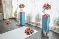 Elementos bonitos da decoração do projeto da cerimônia de casamento com arco, Fotos de Stock Royalty Free