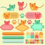 Elementos bonitos do scrapbook do gatinho Foto de Stock