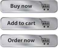 Elementos/botones metálicos del Web para las compras en línea Foto de archivo