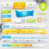 Elementos, botones y escrituras de la etiqueta del Web del vector Imagen de archivo