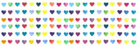 Elementos brilhantes da aquarela e coloridos tirados mão dos corações ilustração do vetor