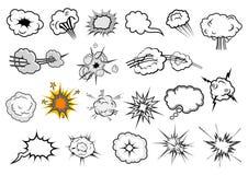 Elementos cómicos de la explosión y del discurso de la historieta Imagenes de archivo