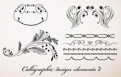 Elementos caligráficos 3. do projeto do vintage. Ilustração Royalty Free