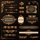 Elementos caligráficos de oro del diseño Fotografía de archivo