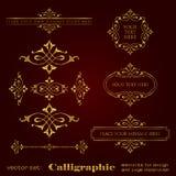 Elementos caligráficos de oro para la decoración del diseño y de la página - sistema del vector Foto de archivo libre de regalías