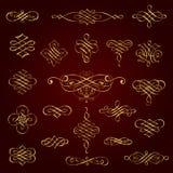Elementos caligráficos decorativos de oro del diseño - sistema del vector Fotografía de archivo