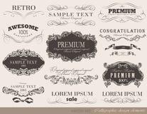 Elementos caligráficos del diseño Fotos de archivo