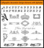 Elementos caligráficos del diseño de la decoración Imagen de archivo libre de regalías